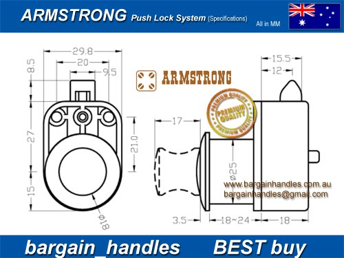 Armstrong Push Lock Door Latch